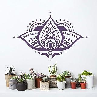 Art Lotus Mandala flor etiqueta de la pared de vinilo decoración para el hogar dormitorio joyería india bohemio patrón Applique Mural casa etiqueta de la pared naranja M 65x42cm