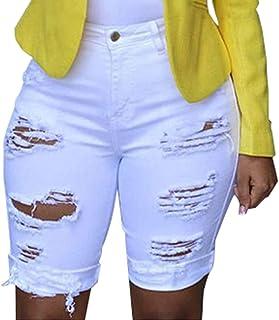 d4c17482d702cc Jeans Vita Alta Donna Estivi Strappati Corti Pantaloncini Skinny Slim Fit  Denim Beach Strappato Foro Shorts