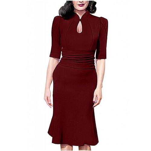 detailed look e36bc 0e1c4 Destinas Women s Vintage Style Retro 1940s Shirtwaist Flared Tea Dress