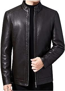 Iuhan Men Leather Jacket Youth Boys Lightweight Slim Fit Tops Coats Mens Jackets Outdoor Winter Warm Waterproof Zipper Fluffy Lining Coat Outwear