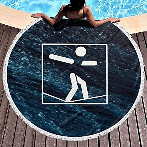 Seiltänzer Walking Piktogramm Runde Mikrofaser Stranddecken Übergroß mit Fransen Quaste Meditation Teppich Kreis Wandteppich Wanddekoration Yoga Matte Handtuch 59 Zoll