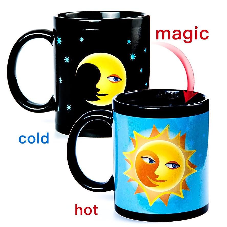 羊飼い消防士ホールドオール色が変わる温度計 熱変化マグ マジックセンシティブな磁器コーヒーカップ 10オンス (月)