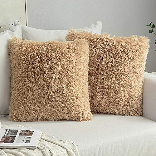 MIULEE Pack of 2 Luxury Faux Fur Throw Pillow Cover Deluxe Decorative Plush Pillow Case Cushion Cover Shell for Sofa Bedroom Car 16 x 16 Inch Brown