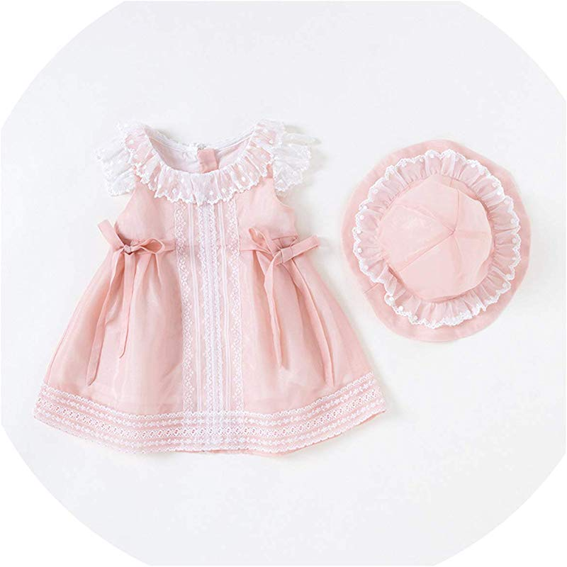 Baby Girl Dress Summer Princess YLE Cute Bow Tie Dress Short Sleeve Infant Dresses 2Pcs Set Pink 6M
