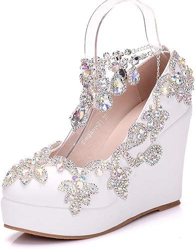 YAN Chaussures compensées Femmes PU Couleur Strass Tassel Cheville Chaussures mode Party et soirée Formelle Chaussures Blanches,blanc,36
