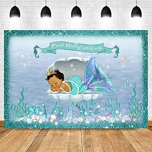 Mermaid Baby Shower Backdrop Under Sea Mermaid Photography Background Mermaid Baby Shower Party Banner Backdrops A1 7x5ft/2.1x1.5m