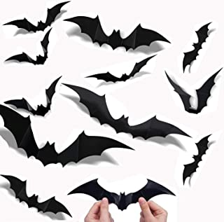 84PCS Halloween 3D super large bat decoration, 4 kinds of realistic PVC scary bat window decal wall stickers, used for DIY...