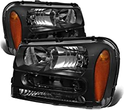 Headlight Assembly Replacement for Chevy Trailblazer 2002-2009 Aftermarket Headlamp Set Driver Passenger Side (Black+Amber...