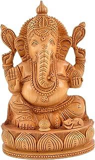 Truesellershop Ganesh Statue Handcarved Wooden Ganesha Statue Lucky Desk Decor 8 Inches Gift