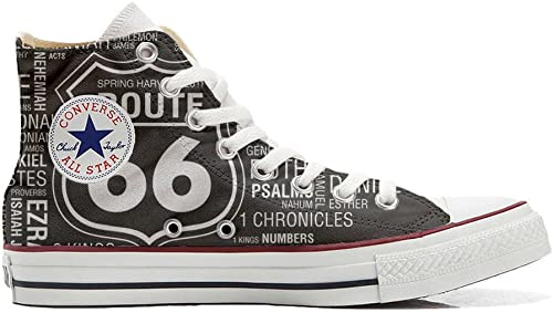 Converse All Star schuhe Personalizados Unisex (Producto Handmade) Route 66 schwarz