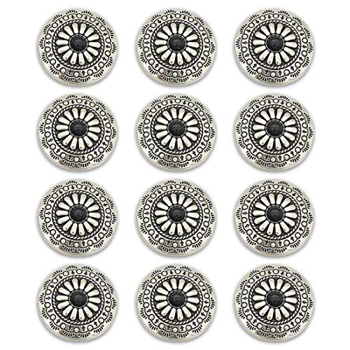 コンチョ ボタン 12個セット ネジ式 30mm ターコイズ デージー柄 レザークラフト 財布 手芸 装飾ボタン (ブラック)