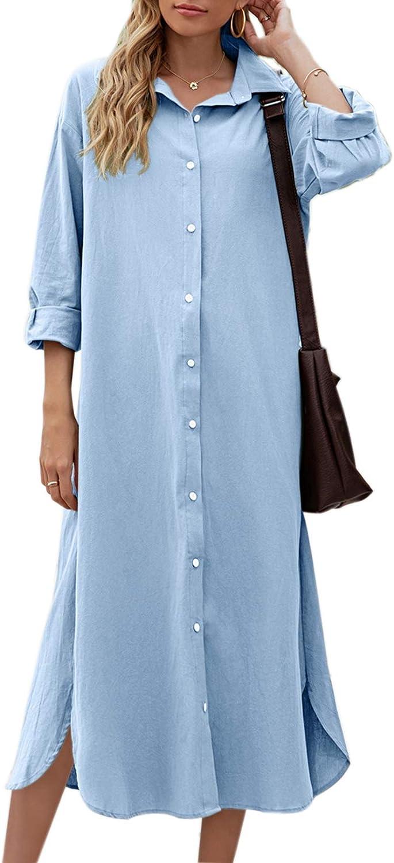 Sopliagon Women Cotton and Linen Shirt Dress Casual Loose Maxi Dresses