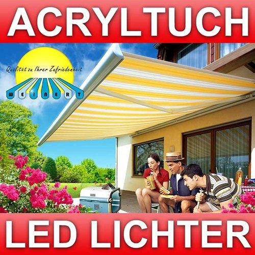 WEINERT 6m x 3m elektrische Markise Gelenkarm Kassettenmarkise markise || Farbe: gelb/grau/beige || mit LED Beleuchtung und Fernbedienung || Modell: Frühling