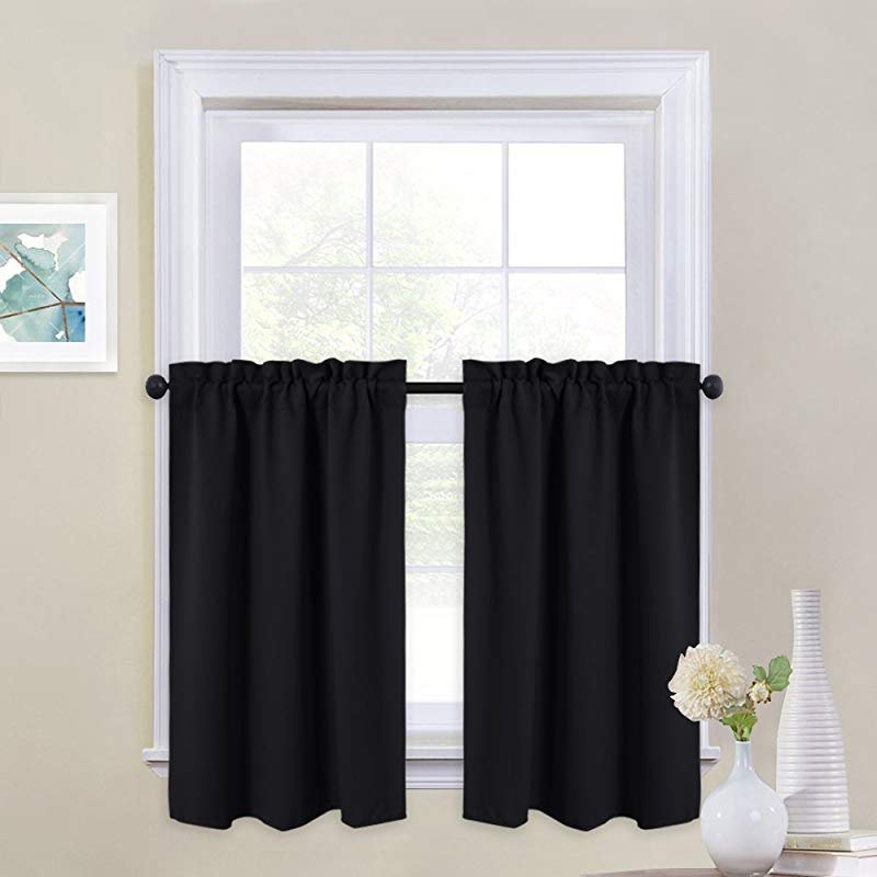 NICETOWN Black Out Valances For Kitchen Rod Pocket Tailored Tier Cafe Curtains For Half Window 1 Pair 29 Inches Wide X 36 Inches Long Black