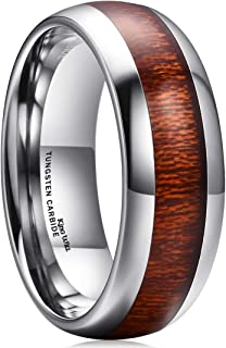 Nature 8mm Domed Koa Wood Tungsten Carbide Ring Wedding Band Polished Finish Comfort Fit