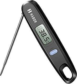 Habor Digital Cooking Kitchen Thermometer Instant Read Sensor with Foldable Probe for Food Baking Liquid Meat BBQ Grill Smokers, Classic Black