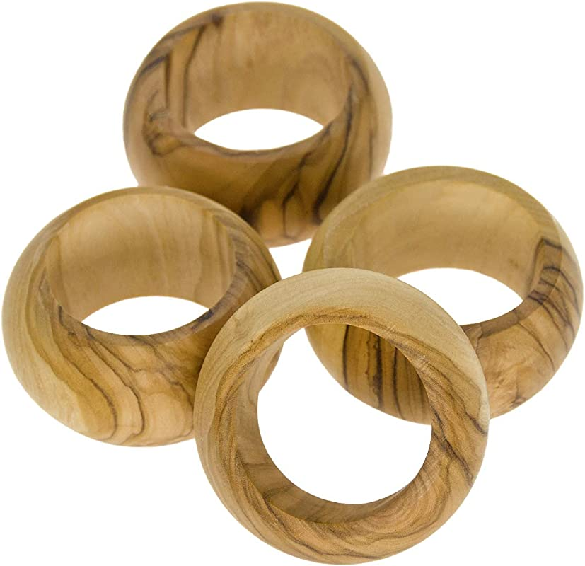 From The Earth Olive Wood Napkin Rings Set Of 4 Fair Trade Handmade
