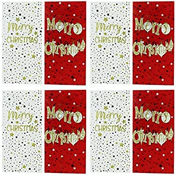 Pack Of 8 Christmas Money Wallet Gift Cards Envelopes Modern Traditional Designs Amazon Co Uk Office Products