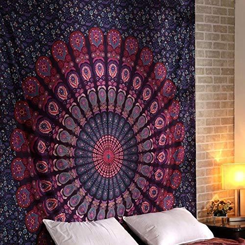 Muur Opknoping Psychedelische Mandala Tapijt Boheemse Gooi Deken Strandlaken Polyester Matras Voor Woonkamer Woondecoratie, 2.180X200Cm