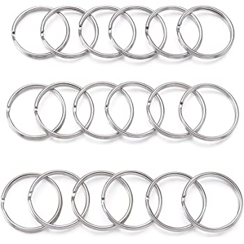 kingforest 100PCS Flat Key Rings 1 Inch Flat Key Rings Metal Keychain Rings Split Keyrings Flat Ring for Home Car Office Keys Attachment