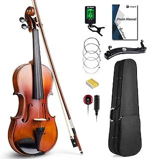 Vangoa Solid Wood Violin Fiddle Outfit برای دانشجوی مبتدی، 4/4 اندازه کامل