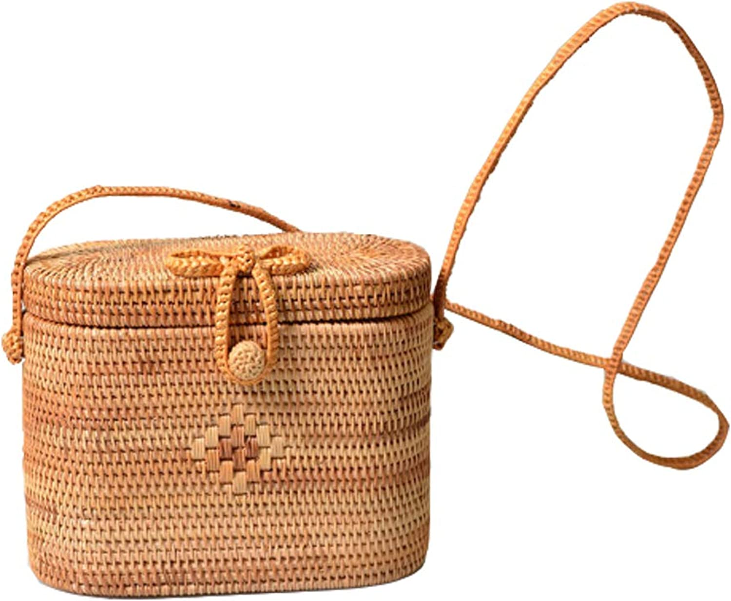YAOXI Rattan Bag, oval gewebte Stroh Stroh Stroh Tasche, Klappe Oval Tropical Beach Crossbody Bag, Reise Shopping Daily Use, 7,87 (L)  3,93  (W)  7,08 (H) B07K7J4XPJ  Attraktiv und langlebig bf7bec