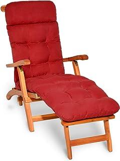 Beautissu Flair DC Cojín- colchoneta para Tumbona reclinable 200x50x8 cm con Relleno de gomaespuma - Diversos Colores (Rojo)
