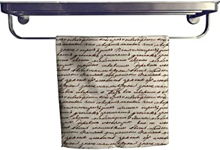 Beach Towel, Texture Base on m uscript Leo Tolstoy ,Luxury Towels Highly Absorbent Extra Soft W 14