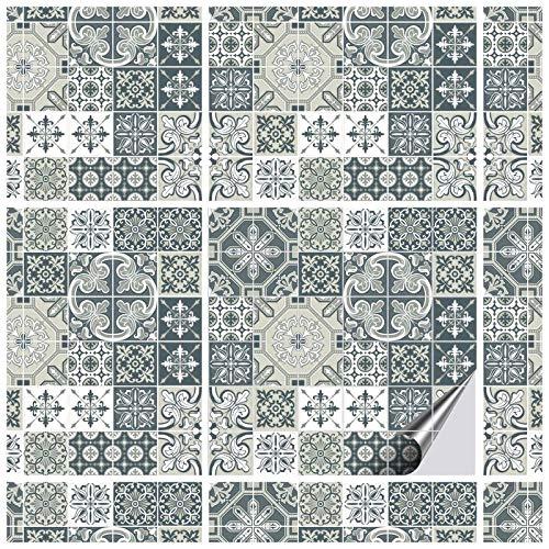 FoLIESEN tegelstickers 20x20 cm - tegelstickers badkamer - tegelsticker keuken - 16 plaktegels, AMZ Motiv:Portugese ornamenten