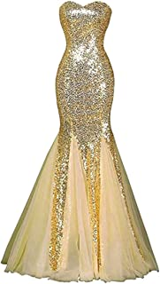 JONLYC Women's Sweetheart Sequin Mermaid Prom Dresses Long Evening Gown
