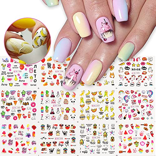 Summer Water Nail Decals Fruit Nail Art Stickers 12 Sheets Water Transfer Nail Art Supplies Sticker Cute Animal Unicorn Dog Flamingo Beach Food Ice Cream Nail Art Designs for Acrylic Nails Decoration