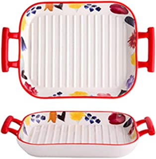 A-myt Material Safety Bakeware Household Ceramic Adust Cheese Baked Rice Bowl Plate Vegetable Plate Easy to use (Color : R...