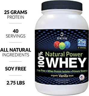 100% Whey Protein Powder 2.75LB. 40 Servings. Isolate Primary. All Natural. No Soy. Organic Vanilla Flavor. Zero Artificial Ingredients. Non GMO. Gluten Free. Made in USA by Eniva Health.