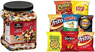 Nut Harvest Nut & Chocolate Mix, 39 Ounce Jar & Frito-Lay Party Mix, (40 Count) Variety Pack