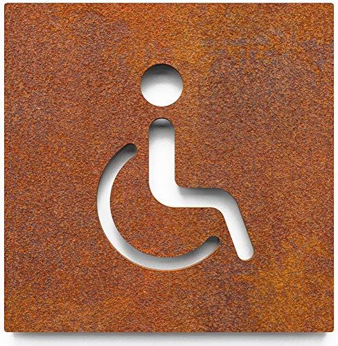Vintage WC-Schild – selbstklebend – Retro Toiletten-Schild – Rollstuhl-Fahrer Piktogramm – B.06.R