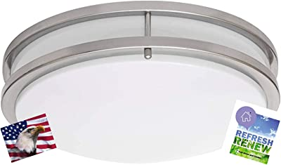 iLett LED 15 Watts Flush Mount Fixture Ceiling Light, Brushed Nickel, 12 inches,