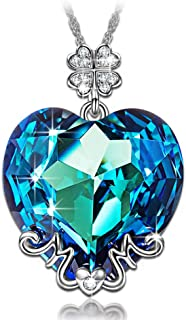 Christmas Necklace Gifts for Women Best Mom Gifts Blue Heart MOM Pendant Necklace Made with Swarovski Crystals, Lucky Clover Design Hypoallergenic Jewelry Gift Box Packing