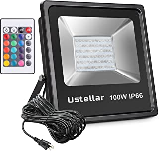 Ustellar 100W RGB LED Flood Lights, 16ft/5M Wire with Plug, IP66 Waterproof Outdoor Color Changing Floodlight, Dimmable 16 Colors 4 Modes, Landscape Wall Lights,Stage Lighting with Remote Control
