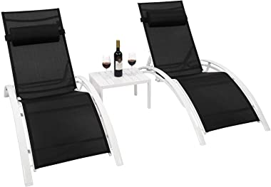 VINGLI Patio Lounge Chair Set of 2 with Table, Adjustable 6-Level Sunbathing Chaise Lounge Set, Heavy Duty Recliners for Lawn