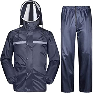 Men's Raincoat Hooded Raincoat Waterproof Jacket Set/Pants Raincoat Snowsuit Ski Heavy Duty Workwear Jacket With Pants (Si...