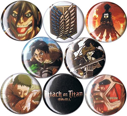 Set of 8 Attack on Titan 1' pins/buttons/badges