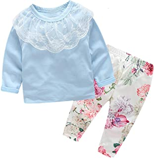 3Pcs Baby Girl Outfits Infant Long Sleeve Lace Ruffle Tops +Floral Pant+Headband Clothes Sets