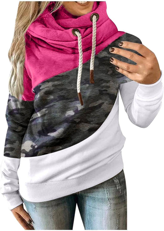 BAGELISE Hoodies Womens Pullover,Women's Color Block Cowl Neck Long Sleeve Womens Hoodies Casual Drawstring Sweatshirt