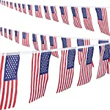 FLAG BANNER: Easily hang indoors and outdoors from the ceiling, hallway, patio, or trees to create a fun photo backdrop for all of your guests to enjoy! 4TH OF JULY DECOR: Each of the banner flags are prestrung for simple and convenient setup; lightw...
