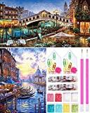 guofa Juego completo de 2 piezas de pintura de diamante para manualidades, imagen de Venecia, con herramientas, pintura de diamante para adultos, decoración de pared del hogar
