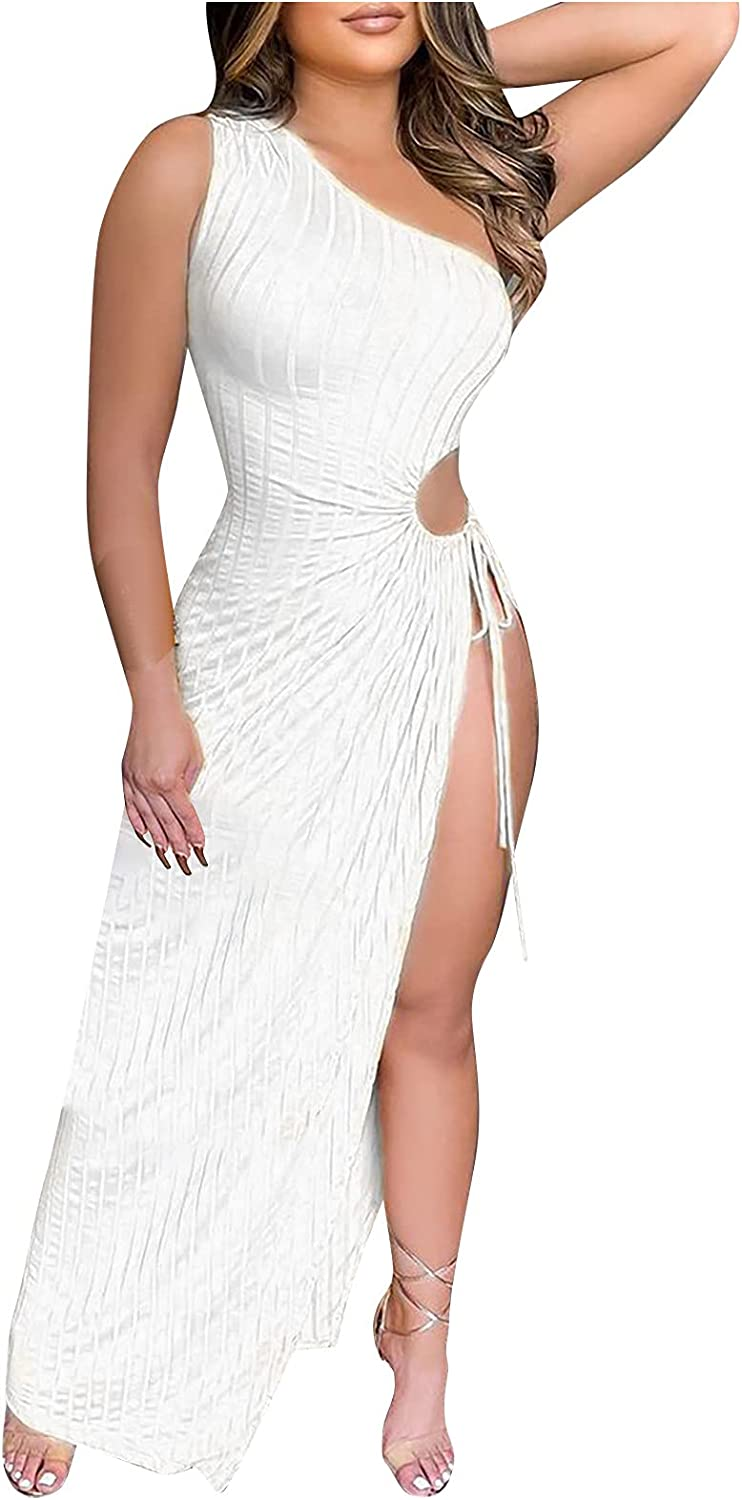 ESULOMP Women's Summer Sexy Ruched Midi Dress Off Shoulder Lace Up Bodycon Drawstring Side Slit Slip Party Clubwear