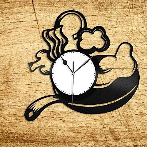 ZZLLL Reloj de Pared de Vinilo con Huevo Frito, 12 Pulgadas para Amigos, Dormitorio en casa, decoración de Oficina, diseño Retro, Bar de Oficina, Dormitorio, hogar, Art Deco, hogar
