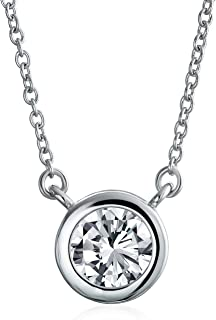 Bling Jewelry 1CT Simple Zirconiums Ronde Solitaire CZ AAA pour Femme LAmie Ados en Argent