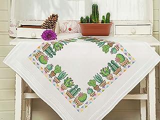 Kamaca Stickpackung Tischdecke KAKTEEN Kreuzstich vorgezeichnet aus 100% Baumwolle zum Selbersticken Mitteldecke 80x80 cm