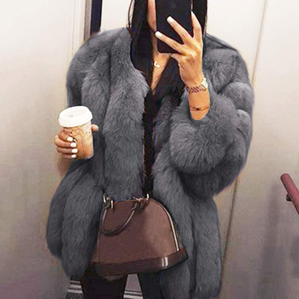 dSNAPoutof Winter Warm Faux Fur Coat, Soft Solid Color Thicken Loose Long Sleeve Trendy Plush Jacket for Woman Girls Party Outerwear Travel Shopping Street Wear Grey XXXXXL